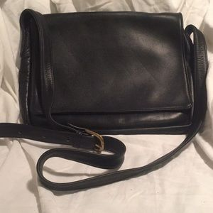 Aston black leather crossbody bag made in USA
